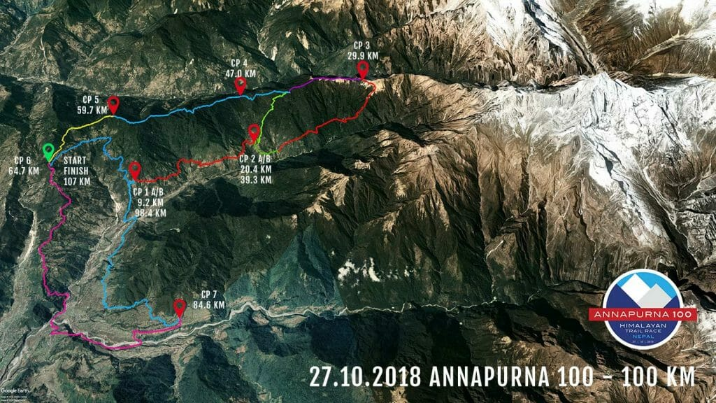 Annapurna 100 2018 100 km route google earth