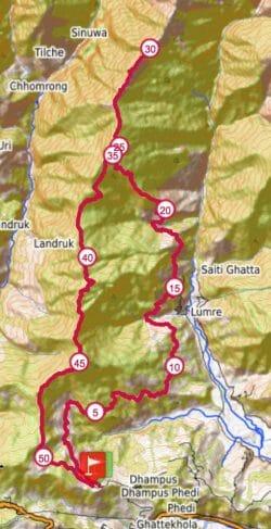 Annapurna 100 ultra map 50