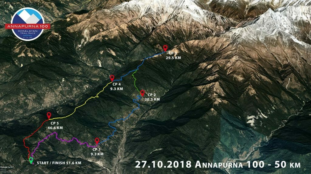 Annapurna 50 2018 route google earth