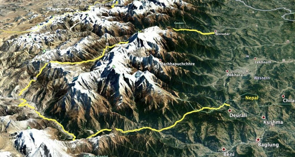 Annapurna Circuit Route map for Fastest Known Time